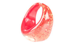 Finger ring. Abstract shot of a red glass finger ring over a white background Stock Photo