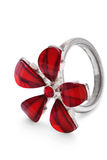 Finger ring with red stone flower isolated Stock Photos