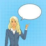 Finger rubio del punto de la mujer de negocios para charlar el estallido Art Colorful Retro Style de la burbuja Imagen de archivo