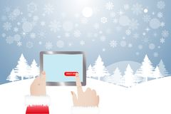 Finger of Santa Claus touching button Order Now in winter lands. View of finger of Santa Claus touching red button Order Now in tablet.  Winter snowy  landscape Stock Photography