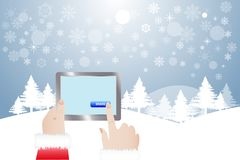 Finger of Santa Claus touching button Share in winter landscape. View of finger of Santa Claus touching blue button Share in tablet.  Winter snowy  landscape is Stock Image