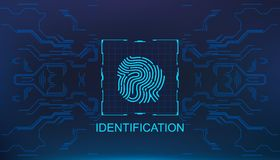 Finger scan in futuristic style biometric id with futuristic hud interface fingerprint scanning. Finger scan in futuristic style biometric id with futuristic Royalty Free Stock Photography
