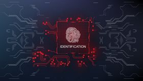 Identification, finger scan in futuristic style biometric id with futuristic hud interface fingerprint scanning. Finger scan in futuristic style biometric id Royalty Free Stock Photos