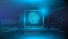 Identification, finger scan in futuristic style biometric id with futuristic hud interface fingerprint scanning. Finger scan in futuristic style biometric id Royalty Free Stock Image