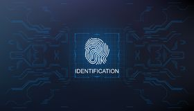 Identification, finger scan in futuristic style biometric id with futuristic hud interface fingerprint scanning. Finger scan in futuristic style biometric id Royalty Free Stock Photography