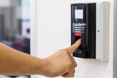 Finger scan for security system stock image