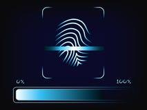 Finger scanner with progress bar loading. Finger scanner: scan in progress, vector with neoneffect and loading bar mesh background Stock Images