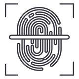 Finger scanner vector line icon, sign, illustration on background, editable strokes Stock Images