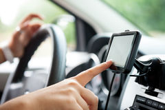 Finger setting navigation system Stock Photos