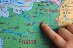 Finger show`s part of Europe Stock Photo