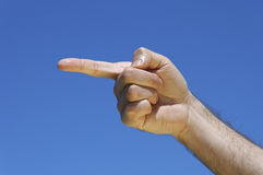 Finger showing on the left side Stock Photo