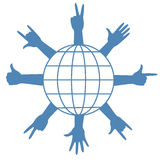 Finger signs around globe. Finger signs around earth planet globe. Vector illustration Royalty Free Stock Photo
