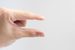 Finger size or scale posture isolate on white background for design. Royalty Free Stock Images