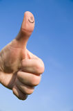 Finger smile. Hand and smile on a big finger Stock Photography