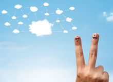 Finger smiley with cloud network system Stock Images