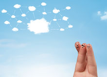 Finger smiley with cloud network system Stock Image