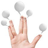 Finger smileys with colorful speech bubbles Stock Photo