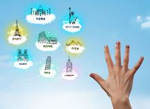 Finger smileys with sightseeing landmarks Royalty Free Stock Photos
