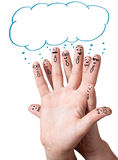 Finger smileys with speech bubbles. Stock Images