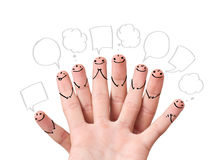 Finger smileys with speech bubbles. Happy finger smileys with speech bubbles Royalty Free Stock Image