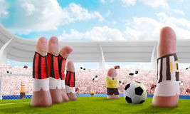 Finger soccer. Soccer stadium with the fingers that are the players Stock Photos