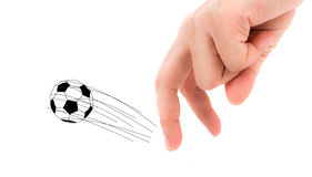Finger and soccer bal Royalty Free Stock Photo