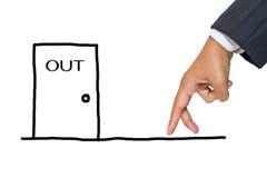 Finger som går till utgångsdörren Arkivfoto
