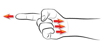 Finger som pekar beskyllningprojektion royaltyfri illustrationer
