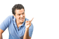 Finger som pekar för kopieringsutrymme för latinamerikansk man tomt H Arkivfoto