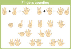 Finger som räknar för att tillfoga och subtrahering Royaltyfri Fotografi