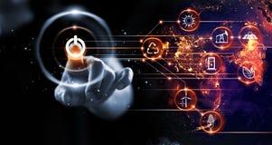 Finger som trycker på maktknappen med energiresurser stock illustrationer