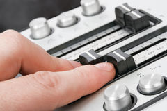 Finger sound control-1. Fingers of a sound operator Stock Photo