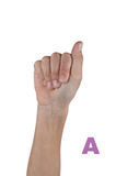 Finger Spelling the Alphabet in Sign Language. Alphabet. Isolated. Finger Spelling the Alphabet in Sign Language. Letter A made by hand and fingers isolated on stock photos