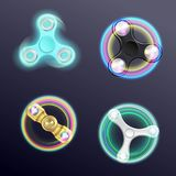 Finger Spinner Fidget  Realistic Set. Finger spinner fidget with led lights 4 realistic gadgets images collection on black background isolated vector Stock Photography