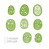Finger stamp vector outline set. Royalty Free Stock Photos
