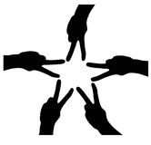Finger star. Five hands star isolated on the white background Royalty Free Stock Image