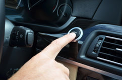Finger on the START. Button Royalty Free Stock Photography