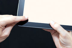 Finger Swiping Tablet, Close Royalty Free Stock Images