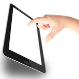 Finger on tablet PC. Finger touching tablet PC with blank white screen isolated on white background Stock Image