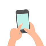 Finger tap on the screen. Smartphone. Royalty Free Stock Image
