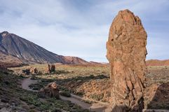 `Finger` Teide on the background of the desert and the volcano Teide. Royalty Free Stock Photo