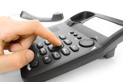 Finger with telephone Stock Image