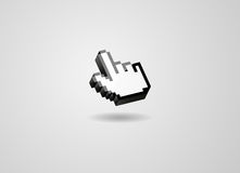 Finger thumb pixel mouse pointer cursor. 3d glossy isolated modern Royalty Free Stock Image