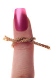 Finger tied with single knot Stock Photo