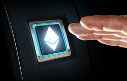 Finger about to press button with Ethereum symbol. Mixed media. Close up of finger about to press Ethereum button. Mixed media royalty free stock photography