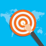 Finger to the target. Business concept flat modern design. vector Royalty Free Stock Photos