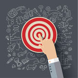 Finger to the target. Concept of success. Vector flat illustration Stock Photography