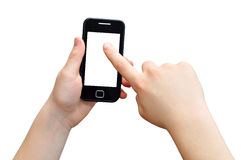 Finger touch. Boy is using smartphone, finger touch, clipping path Royalty Free Stock Images