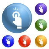 Finger touch cursor icons set vector royalty free illustration