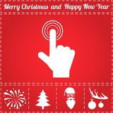 Finger touch Icon Vector. And bonus symbol for New Year - Santa Claus, Christmas Tree, Firework, Balls on deer antlers Stock Photos
